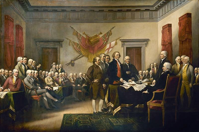 Painting of signing of the Declaration of Independence on the 4th of July.