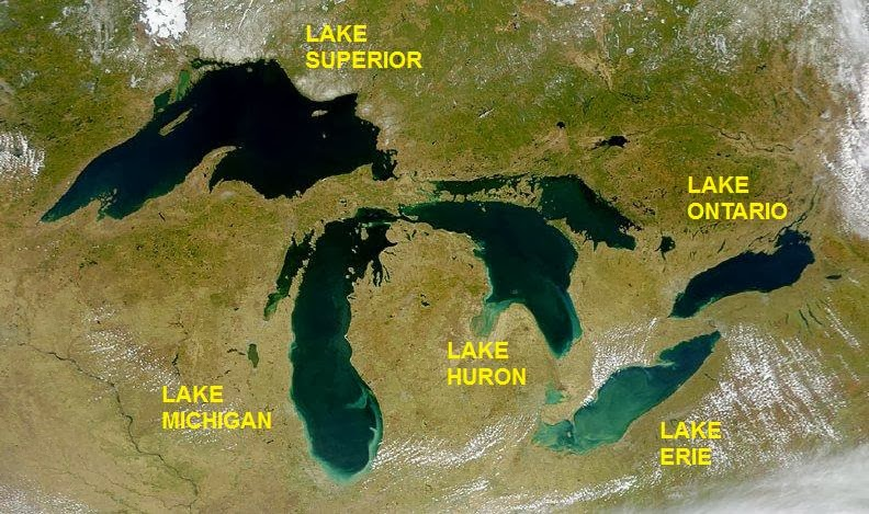 Great Lakes from space crop labeled