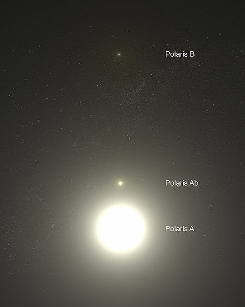 View of the three stars that make up the North Star.