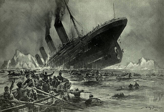 Painting of the Titanic sinking.