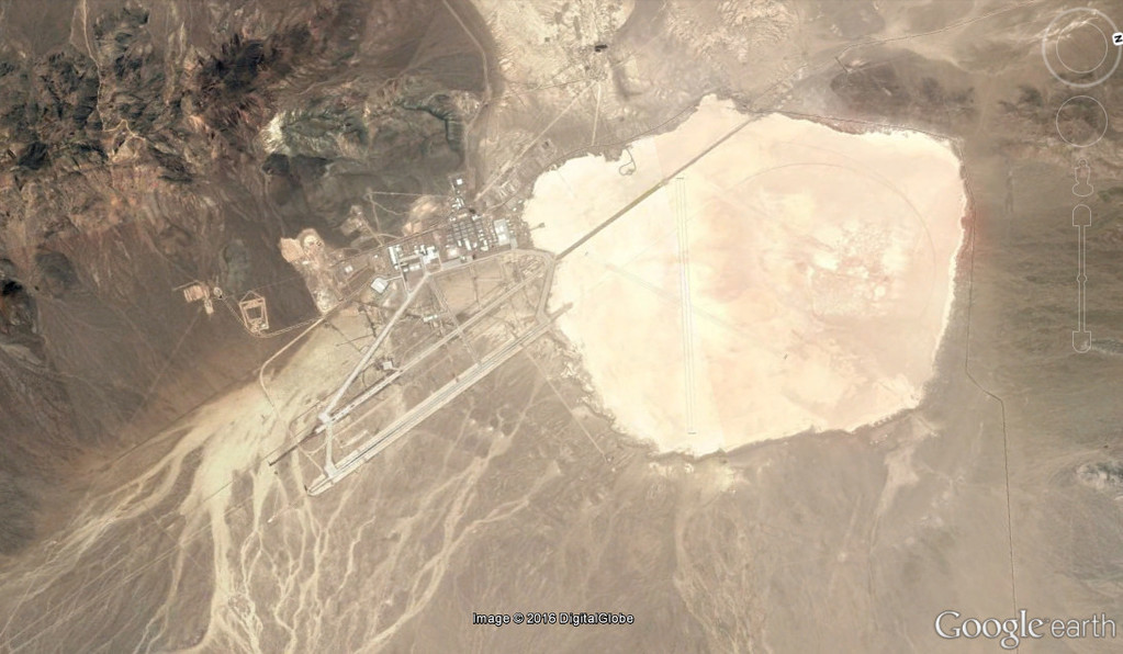 Aerial view from Google Earth of Groom Lake and Area 51.
