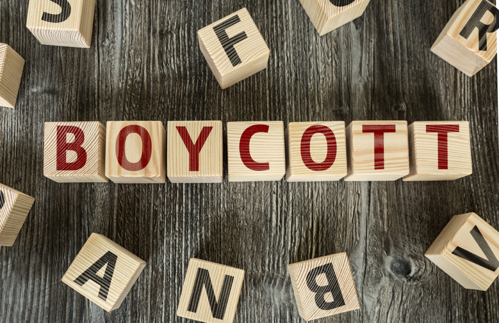 Boycott spelled out with blocks