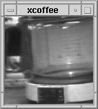 the black and white picture of a coffee pot on webcam