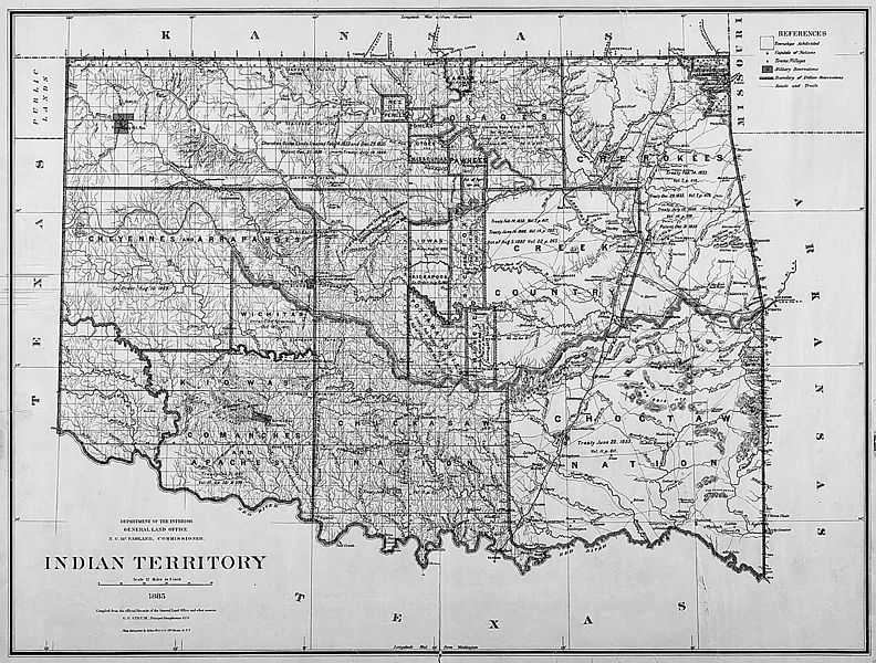 Map of Indian Territory that Bass Reeves Patrolled in 1885