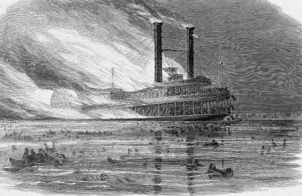 Picture of the Sultana disaster taken from Harper's Weekly 1865