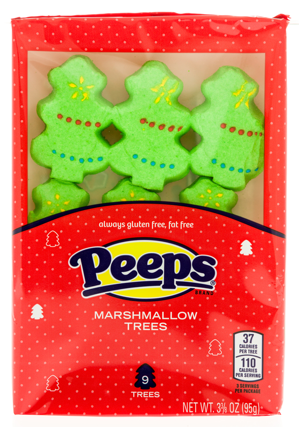 A package of Peeps marshmallow trees on an on an isolated background.