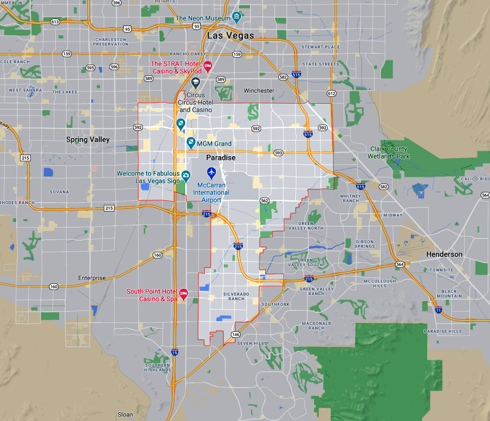 The boundaries of Paradise and how the Las Vegas strip is inside.