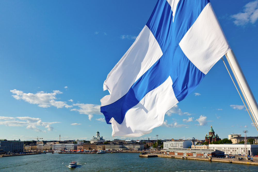 The flag of Finland.