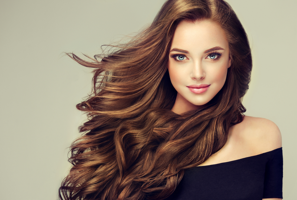 Woman with flowing hair.