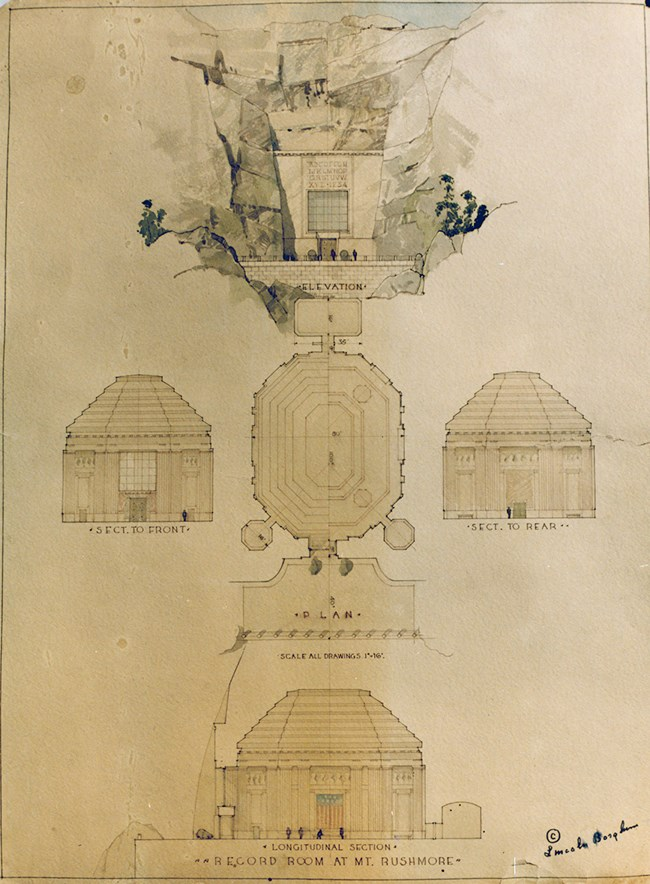 Design for the Hall of Records by Lincoln Borglum, Gutzon Borglum's son, who also worked on Mount Rushmore