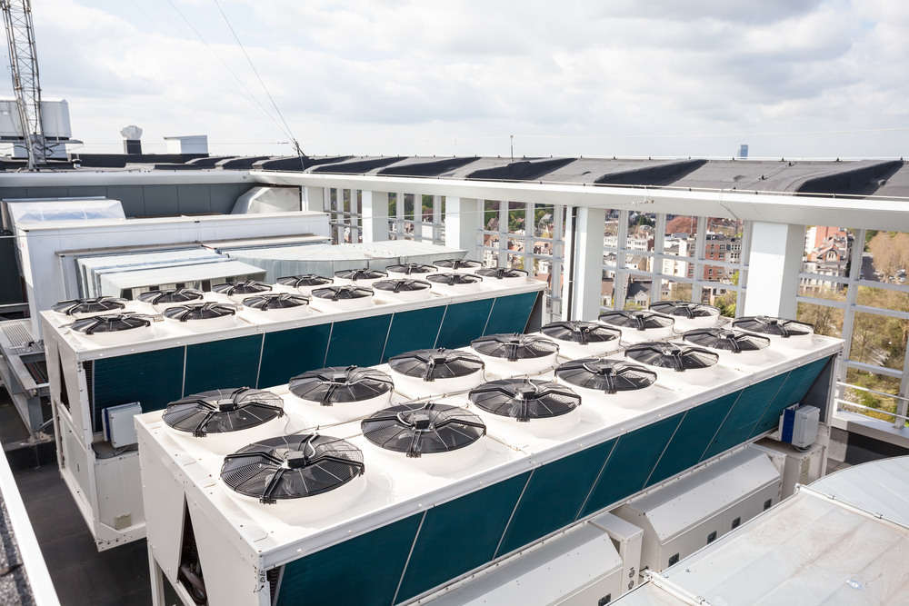Air conditioning units on top of a building.