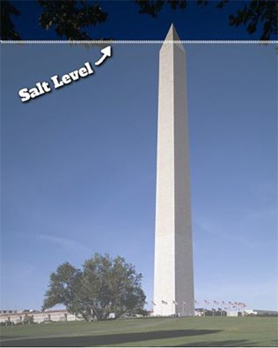 Level of salt in the ocean as compared to the Washington Monument.