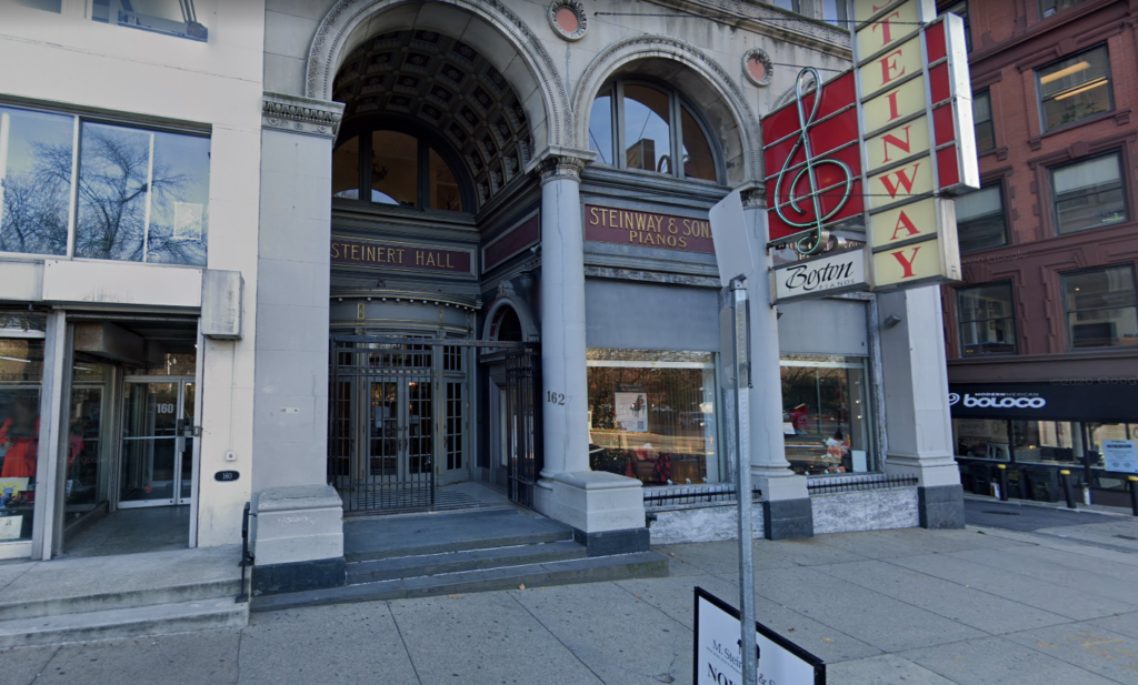 The front of Steinert Hall in Boston, the forgotten concert hall.
