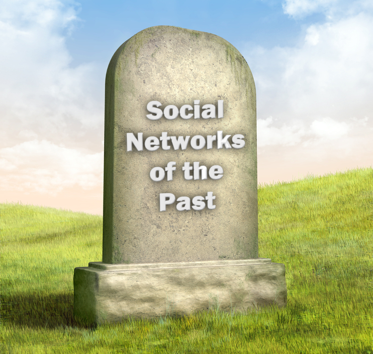"""Social network tombstone with words reading """"social networks of the past."""""""