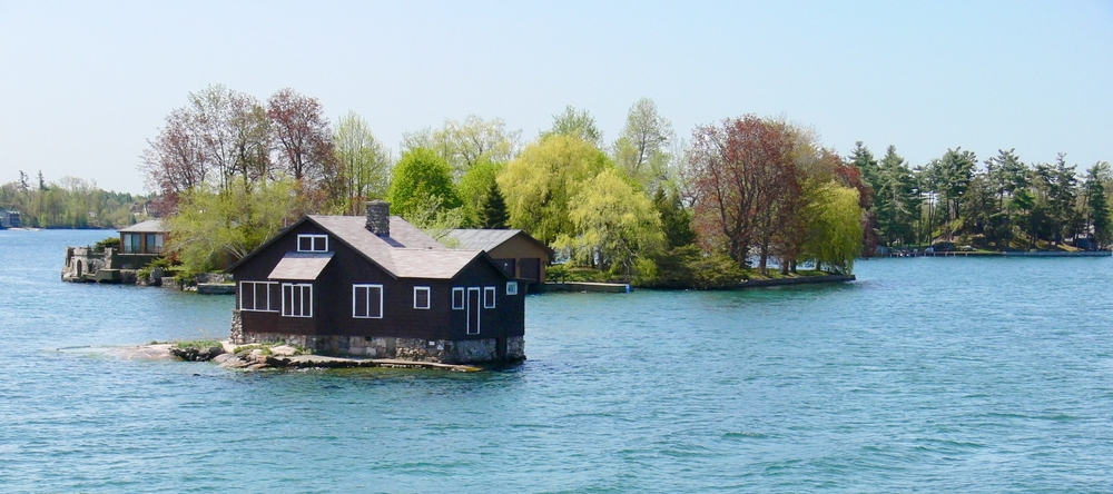 The rear of Just Enough Room Island, the smallest inhabited island in the world.