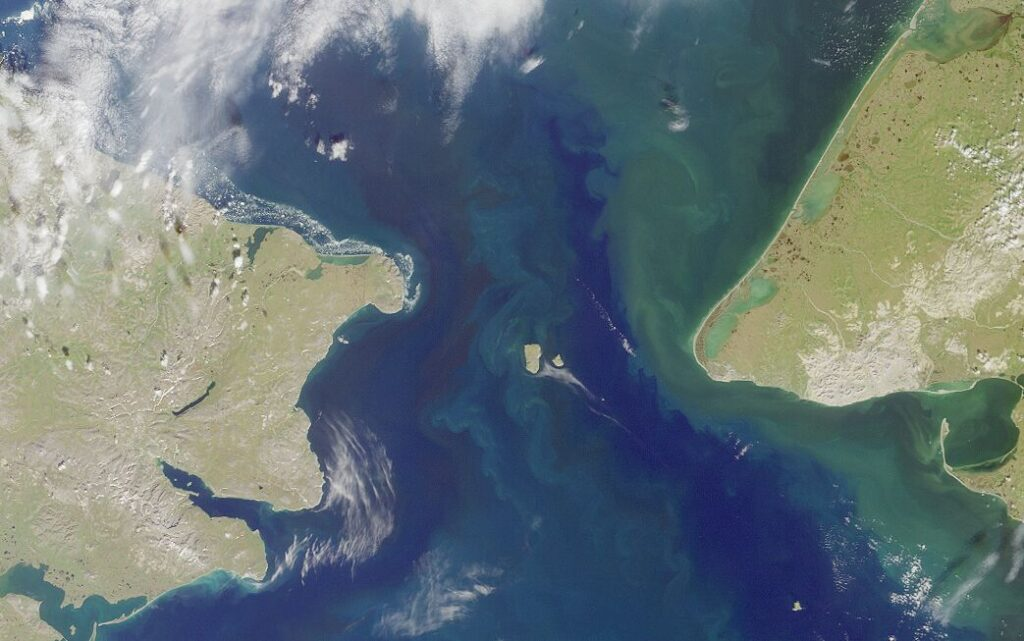 View of the Diomede Islands in the Bering Strait.