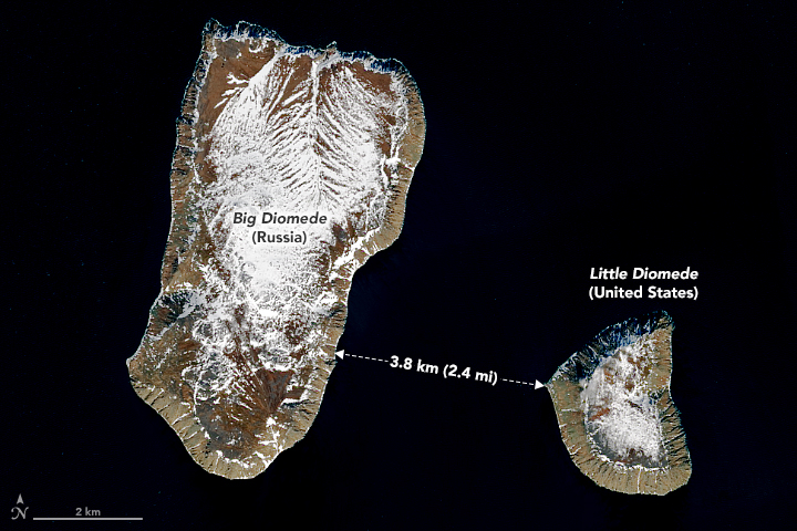 View of the distance between Big Diomede and Little Diomede islands.